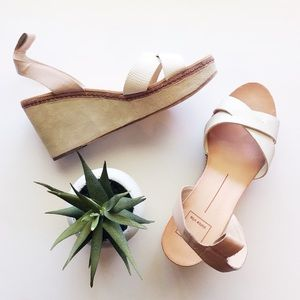 Dolce Vita Platform Wedge Sandal White and Blush